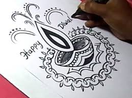 How To Draw Diwali Greeting Drawing Step By Step