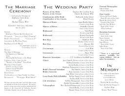 Ceremony Template Wedding Ceremony Programs Sample Program Wording Example