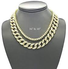 pyramid jewelers mens iced out hip hop gold tone cz miami cuban link chain choker necklace