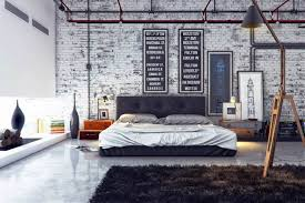 interior design furniture minimalism industrial design. 85 Most Skookum Industrial Bedroom With Whitewashed Brick Accent Wall Feat Masculine Charcoal Floor Padded King Size Buttoned Headboard Also Mens Frames Interior Design Furniture Minimalism