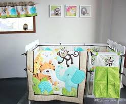 active printing cotton baby boy crib bedding set jungle animal cot comforter per hot nursery accessories for girls linen sets eleph
