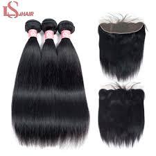<b>LS Hair</b> 13x4 Lace Frontal Closure With <b>Bundles</b> Remy Brazilian ...
