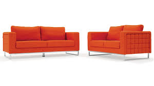 modern orange fabric upholstered 2 piece sofa set with stainless steel legs zuri furniture