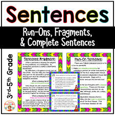 Complete Sentence Anchor Chart Fragment And Run On Sentences Task Cards And Anchor Charts