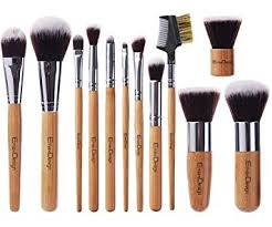 emaxdesign 12 pieces makeup brush set professional bamboo handle premium synthetic kabuki foundation blending blush concealer