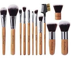 amazon emaxdesign 12 pieces makeup brush set professional bamboo handle premium synthetic kabuki foundation blending blush concealer eye face liquid