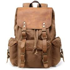 kemy s mens waxed canvas backpack leather rucksack for men wax leather backpacks travel vintage bookbag with laptop compartment rustic large waterproof