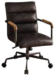 Harith Top Grain Leather Office Chair Retro Brown Industrial  Desk R68