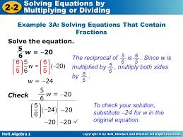 example 3a solving equations that contain fractions