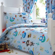 bluezoo kids blue pirates toddler polycotton duvet cover and pillow case set bluezoo co uk kitchen home