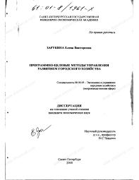 Диссертация на тему Программно целевые методы управления  Диссертация и автореферат на тему Программно целевые методы управления развитием городского хозяйства