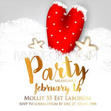 Valentines Day Party Invitation With Gift Box Snow And Heart