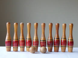 Antique Wooden Bowling Game Antique Wood Bowling Game Pin Balls Ten Pins by AveryandAllen 6