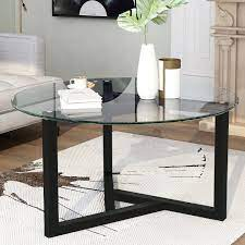 The modern swivel coffee table ($578) is like a beautiful living room jewelry box. Ebern Designs Round Glass Coffee Table Modern Cocktail Table Easy Assembly Sofa Table For Living Room With Tempered Glass Top Sturdy Wood Base Oak Wayfair