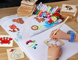 2018 children s painting tool kit graffti tine drawing template educational toy for children to learn to paint from fantastic baby 4 93 dhgate
