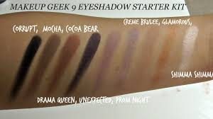 swatches of the 9 eyeshadow starter kit