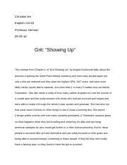 grit essay lee christian lee professor herman english  2 pages untitled document
