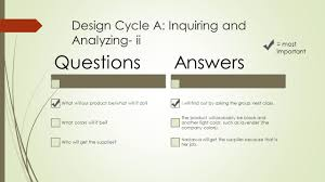 Inquiring And Analyzing Design Cycle Real World Project Dcj Design Cycle A Inquiring And