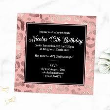 Print Birthday Invitation 40th Birthday Invitations Blush Leopard Print
