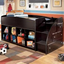 twin loft bed with bookcase storage