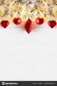 Red Vertical Christmas Banner White Wood Copy Space Stock Photo