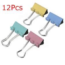 Paper Holder Clips 12pcs 50mm Officer Desk Binder Clips Paper Holder Mix 4 Colors Sale