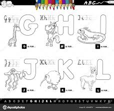 Color Book Educational Cartoon Alphabet For Kids Stock Vector