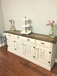 dining room buffet so pretty love the two tone finish rustic planked wood sideboard white furniture