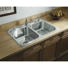 sterling 11402 4 na stainless steel southhaven 33 double basin drop in stainless steel kitchen sink with silentshield reg faucet com