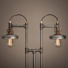 iron pipe furniture. Unique Industrial Iron Pipe Furniture In The Shape Of Lamps Suspension With Round Shade And Bulb H