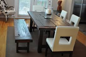 modern kitchen table with bench. Dark Coated Wooden Dining Table Idea In Rustic Style Designed By Emmerson A Modern Kitchen With Bench P