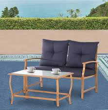 Amazon com solaura patio outdoor furniture 2 piece loveseat light brown coated metal frame nautical navy blue cushions glass coffee table bench sofa