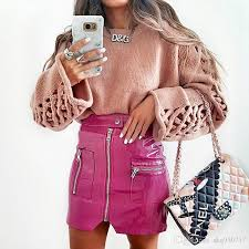 2019 women faux leather pencil skirts pink on front zipper mini high waist skirt female autumn winter fashion y party skirts from skq930717