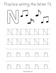 Letter Free N Worksheets For Kindergarten E Teachers Day Tracing M ...