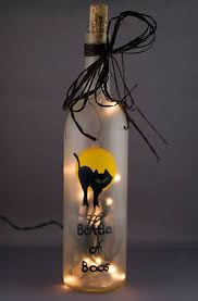 recycled lighting. lighted halloween wine bottle of boos black cat frosted glass night light accent lamp recycled lighting organza gift bag