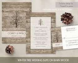 Rustic Winter Wedding Invitations Rustic Winter Wedding Invitation Oak Tree Wedding Suite Fall Etsy