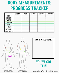 Waist Measurement Chart Body Measurement Chart To Track Weight Loss Printable Weight
