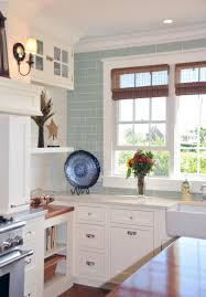 Coastal Kitchen White Kitchen With Acqua Tile To Ceiling Open Shelving Mixed With
