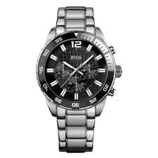 hugo boss watches overstock com the best prices on designer mens hugo boss men s chronograph black dial silver tone stainless steel bracelet watch 1512806