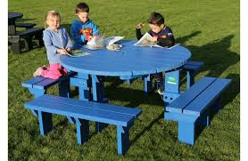 junior round picnic table bench weatherproof recycled plastic blue junior olympic blue