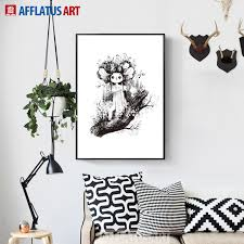 afflatus black white little girl nordic poster wall art canvas painting posters and prints wall pictures on little black girl wall art with afflatus black white little girl nordic poster wall art canvas