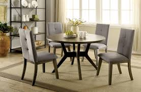 furniture of america cm3354gy rt 5 pc abelone mid century modern style gray finish wood