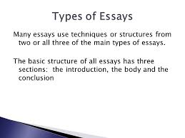 brad hutchinson standard essay structure is a specific essay form  many essays use techniques or structures from two or all three of the main types of