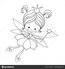 Mooie Karakter Doodle Fairy Cartoon Voor Kleurplaat Boeken Schattig