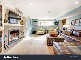 Of Living Rooms With Leather Furniture Light Blue Living Room Leather Furniture Stock Photo 174203672