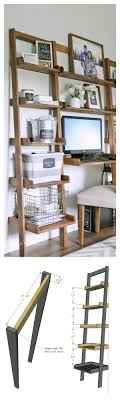 diy shelf leaning ladder wall bookshelf made from 1x boards desk plans too