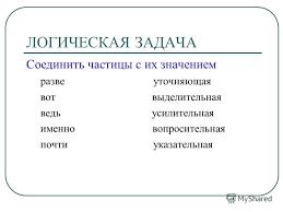 Презентация на тему Обобщающий урок по теме Частицы  4 ЛОГИЧЕСКАЯ