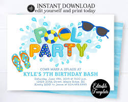 Birthday Invitations Boy Pool Party Invitation Boy Swimming Birthday Party Invitation Printable Summer Party Invite Instant Download Sp0039
