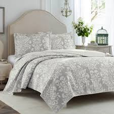 laura ashley rowland 3 piece grey king quilt set