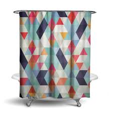 orange and blue shower curtain. fabric shower curtain, bright geometric by ziya blue orange and curtain